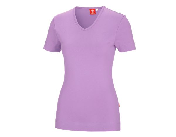 Shirts, Pullover & more: e.s. T-shirt cotton V-Neck, ladies' + lavender