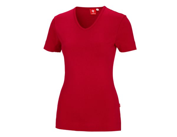 Shirts & Co.: e.s. T-Shirt cotton V-Neck, Damen + feuerrot