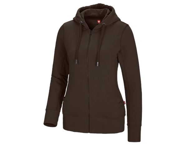 Shirts, Pullover & more: e.s. Hoody sweatjacket poly cotton, ladies' + chestnut