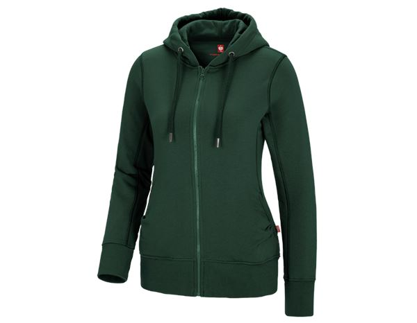 Shirts, Pullover & more: e.s. Hoody sweatjacket poly cotton, ladies' + green