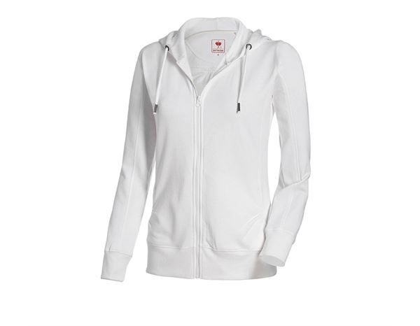 Shirts, Pullover & more: e.s. Hoody sweatjacket poly cotton, ladies' + white