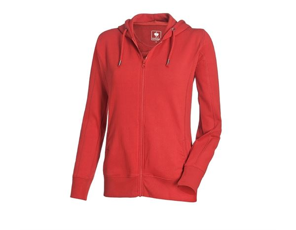 Shirts & Co.: e.s. Hoody-Sweatjacke poly cotton, Damen + feuerrot