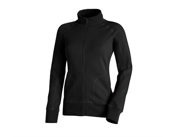 Hauts: e.s. Veste sweat poly cotton, femmes + noir