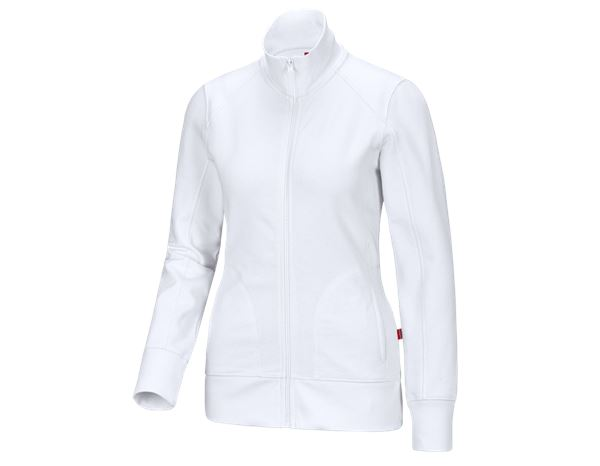 Hauts: e.s. Veste sweat poly cotton, femmes + blanc