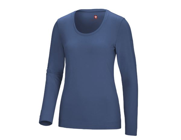 Shirts, Pullover & more: e.s. Long sleeve cotton stretch, ladies' + cobalt