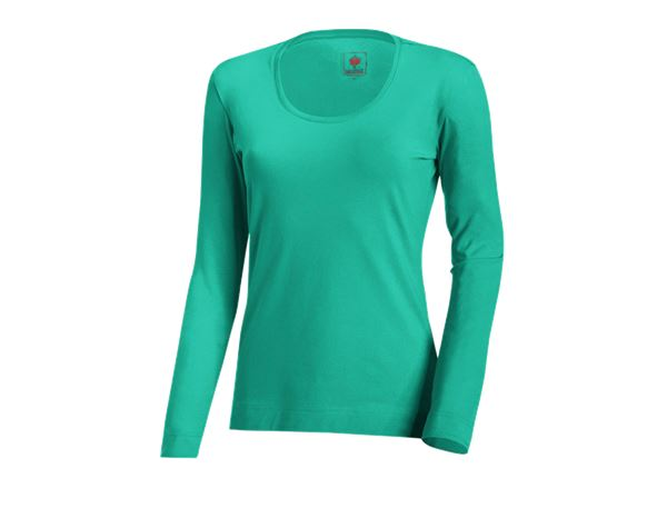 Shirts, Pullover & more: e.s. Long sleeve cotton stretch, ladies' + lagoon