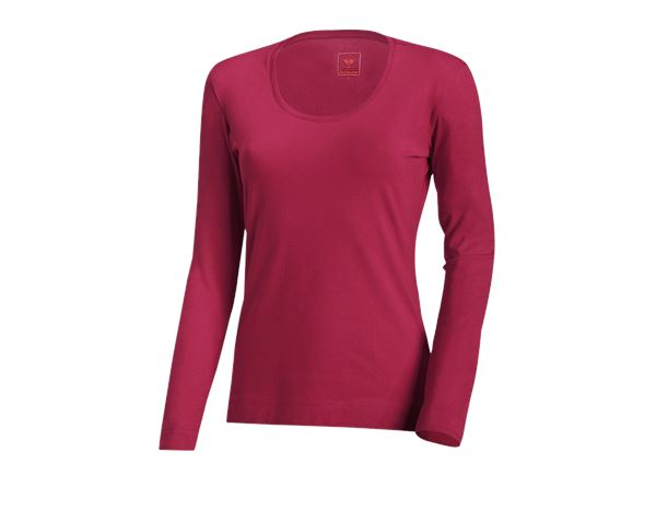 Shirts, Pullover & more: e.s. Long sleeve cotton stretch, ladies' + berry