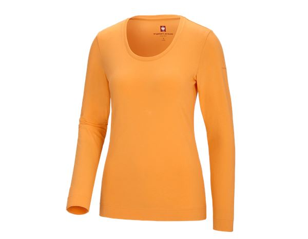 Shirts & Co.: e.s. Longsleeve cotton stretch, Damen + hellorange