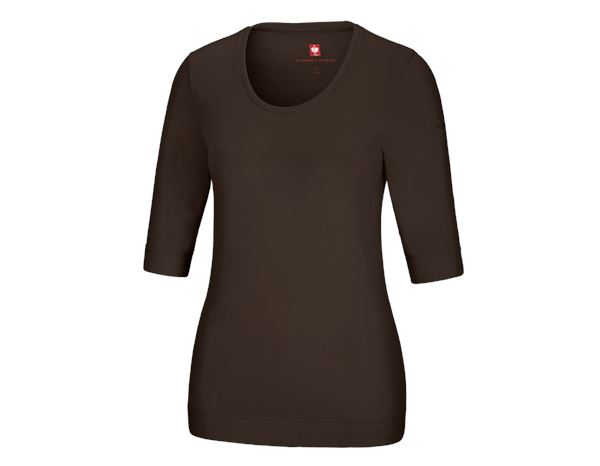Shirts, Pullover & more: e.s. Shirt 3/4 sleeve cotton stretch, ladies' + chestnut
