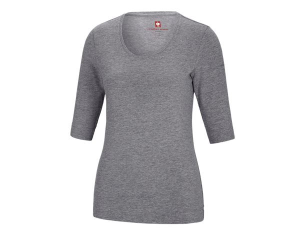 Shirts, Pullover & more: e.s. Shirt 3/4 sleeve cotton stretch, ladies' + grey melange