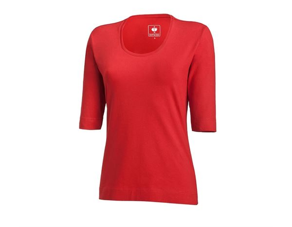 Shirts, Pullover & more: e.s. Shirt 3/4 sleeve cotton stretch, ladies' + fiery red