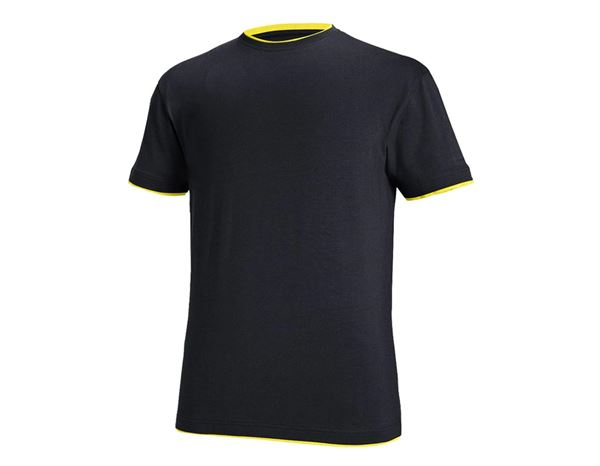 T-Shirts: e.s. T-shirt cotton stretch Layer + sapphire/citrus