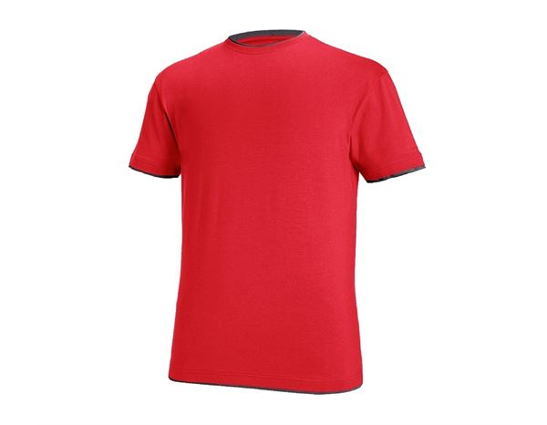 T-Shirts: e.s. T-Shirt cotton stretch Layer + feuerrot/schwarz