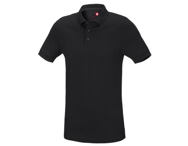 Polo-Shirts: e.s. Piqué-Polo cotton stretch, slim fit + schwarz