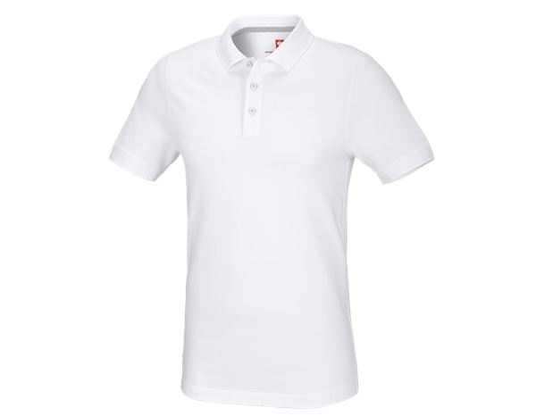 Polo-Shirts: e.s. Piqué-Polo cotton stretch, slim fit + weiß