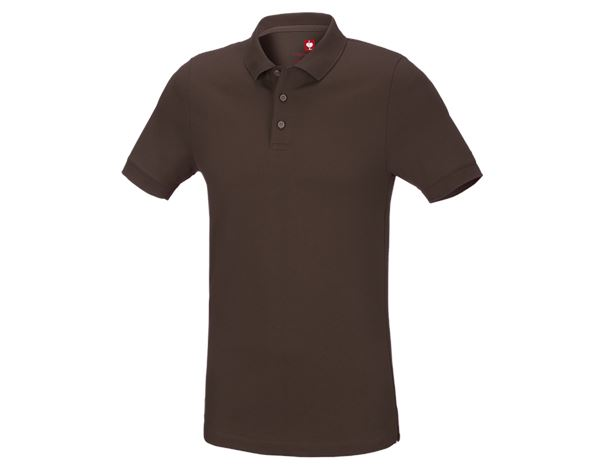 Shirts & Co.: e.s. Piqué-Polo cotton stretch, slim fit + kastanie