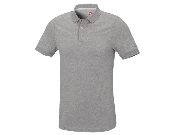 Shirts & Co.: e.s. Piqué-Polo cotton stretch, slim fit + graumeliert