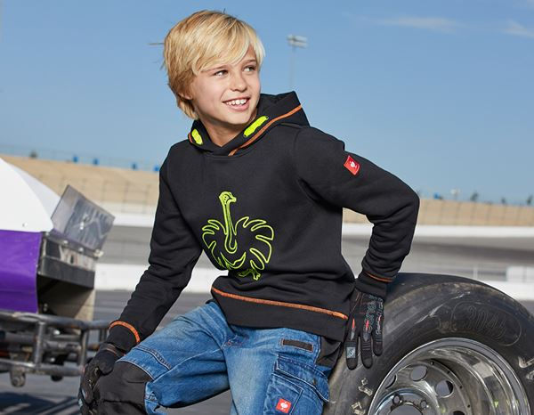 Shirts, Pullover & more: Hoody sweatshirt e.s.motion 2020, children´s + black/high-vis yellow/high-vis orange