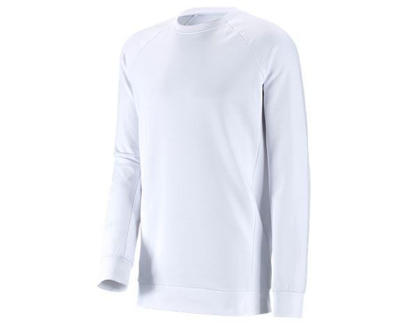 Shirts, Pullover & more: e.s. Sweatshirt cotton stretch, long fit + white