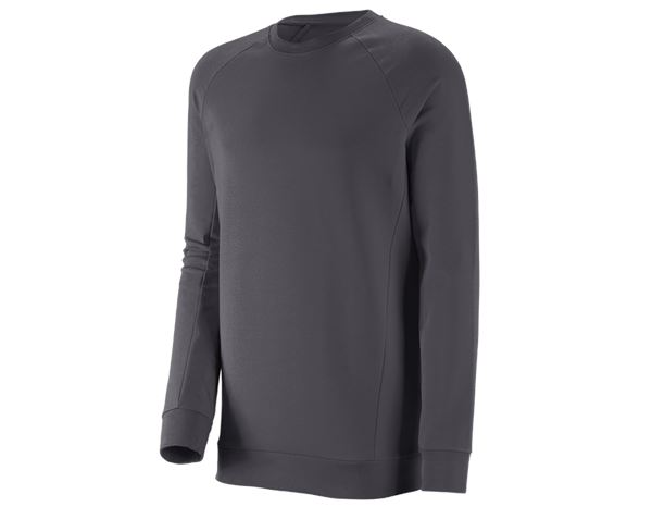 Shirts, Pullover & more: e.s. Sweatshirt cotton stretch, long fit + anthracite