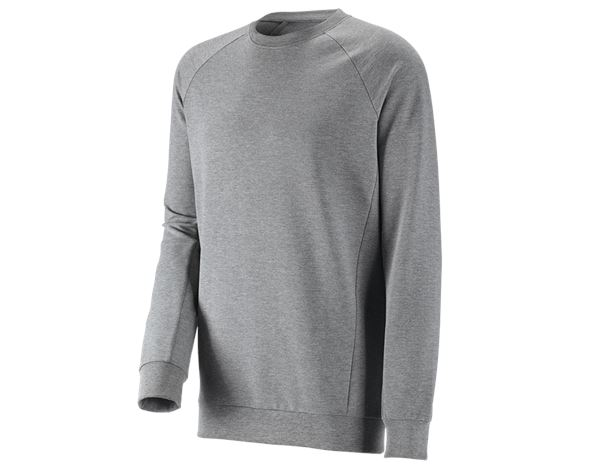 e.s. Sweatshirt cotton stretch, long fit graumeliert