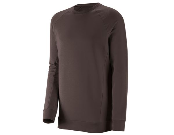 Shirts, Pullover & more: e.s. Sweatshirt cotton stretch, long fit + chestnut