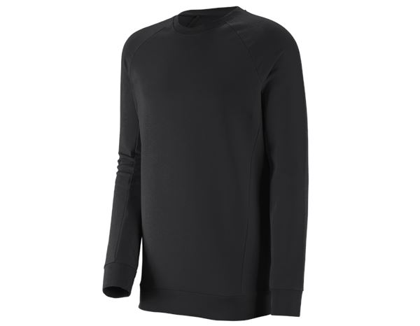 Shirts & Co.: e.s. Sweatshirt cotton stretch, long fit + schwarz