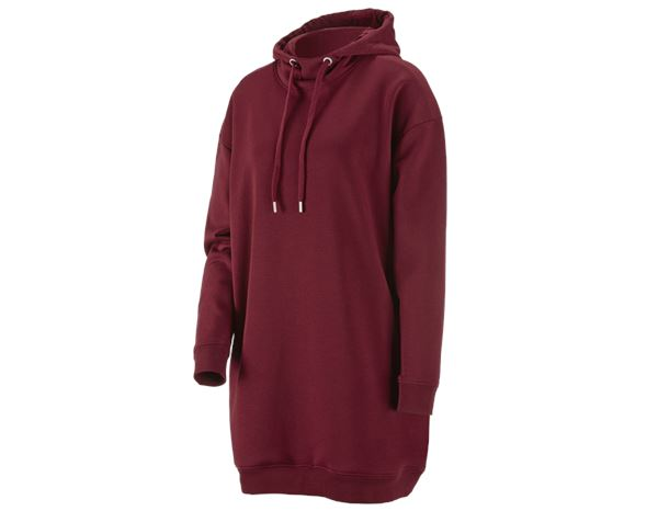 e.s. Oversize Hoody Sweatshirt poly cotton, Damen bordeaux