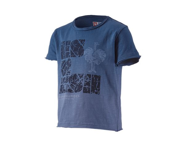 Hauts: e.s. T-Shirt denim workwear, enfants + bleu antique vintage