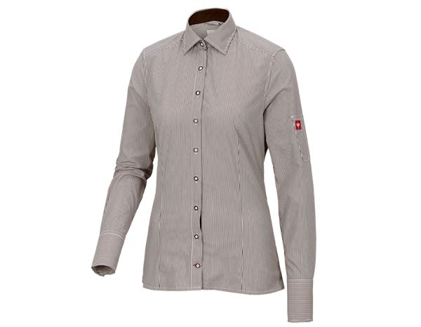 Shirts & Co.: e.s. Berufsbluse advanced, Damen + kastanie/weiß gestreift
