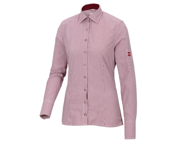 Shirts & Co.: e.s. Berufsbluse advanced, Damen + rubin/weiß gestreift