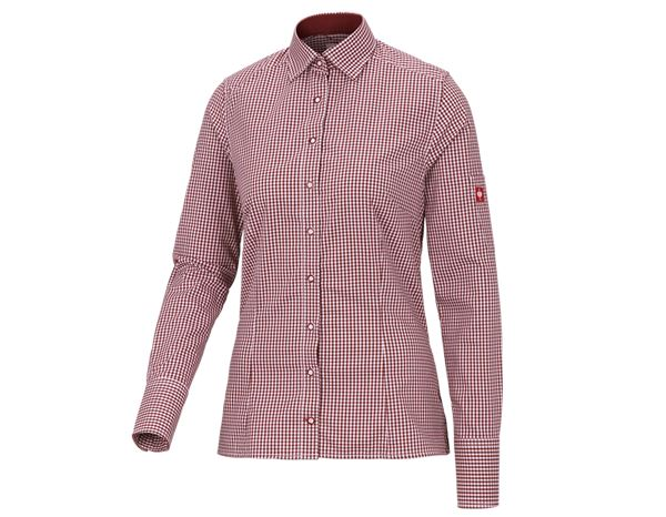 Shirts & Co.: e.s. Berufsbluse advanced, Damen + rubin/weiß kariert
