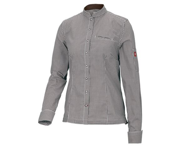 Shirts, Pullover & more: e.s. Work blouse mandarin, ladies' + chestnut/white checked