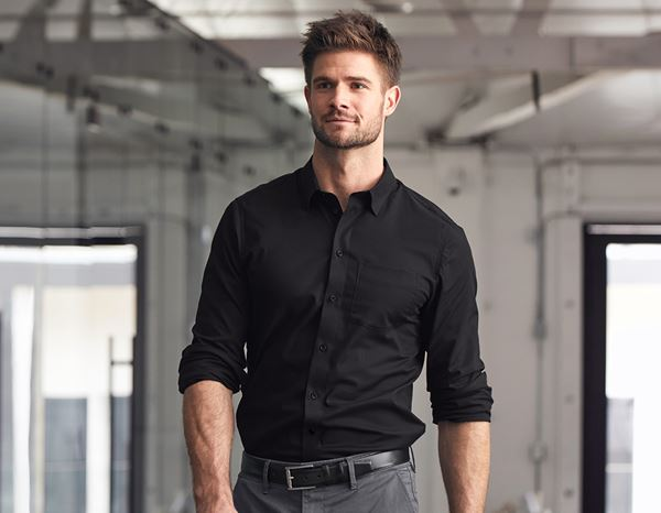 Shirts & Co.: e.s. Business Hemd cotton stretch, slim fit + schwarz