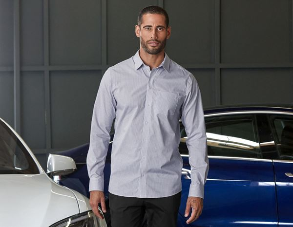Shirts, Pullover & more: e.s. Business shirt cotton stretch, regular fit + mistygrey checked