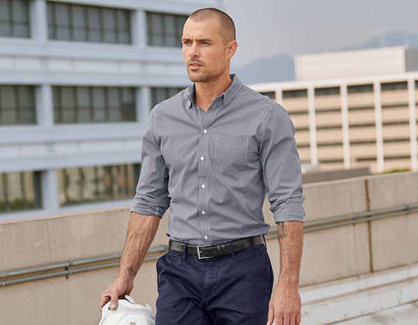 Shirts, Pullover & more: e.s. Business shirt cotton stretch, regular fit + navy checked