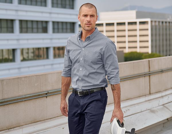 Shirts, Pullover & more: e.s. Business shirt cotton stretch, regular fit + navy checked 2