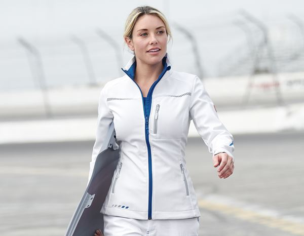 Work Jackets: Softshell jacket e.s.motion 2020, ladies' + white/gentian blue