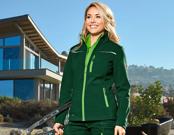 Work Jackets: Softshell jacket e.s.motion 2020, ladies' + green/seagreen