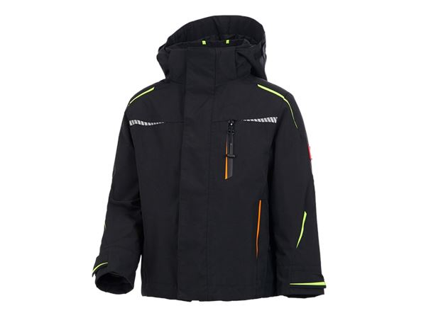 Jackets / Body Warmer: 3 in 1 functional jacket e.s.motion 2020,  childr. + black/high-vis yellow/high-vis orange