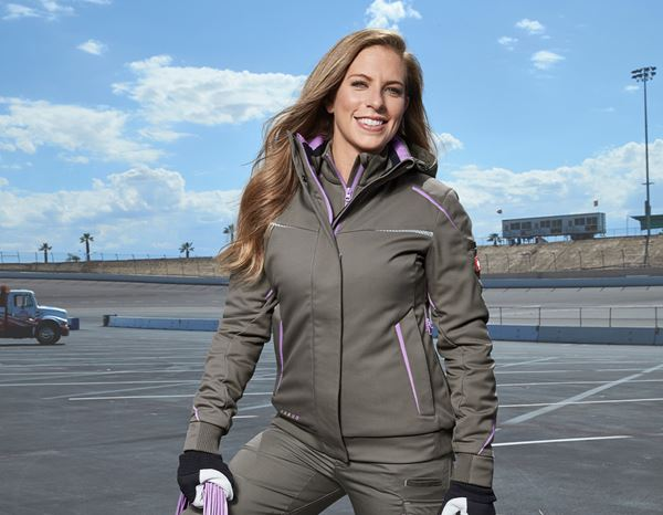 Work Jackets: Winter softshell jacket e.s.motion 2020, ladies' + stone/lavender