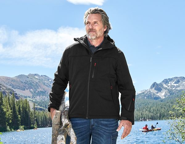 Work Jackets: Softshell hooded jacket Aspen + black
