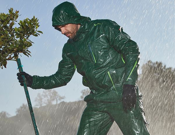 Rain Jackets: Rain jacket e.s.motion 2020 superflex + green/seagreen 1