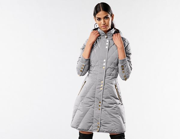 workwear couture: Long Down Jacket + grey melange