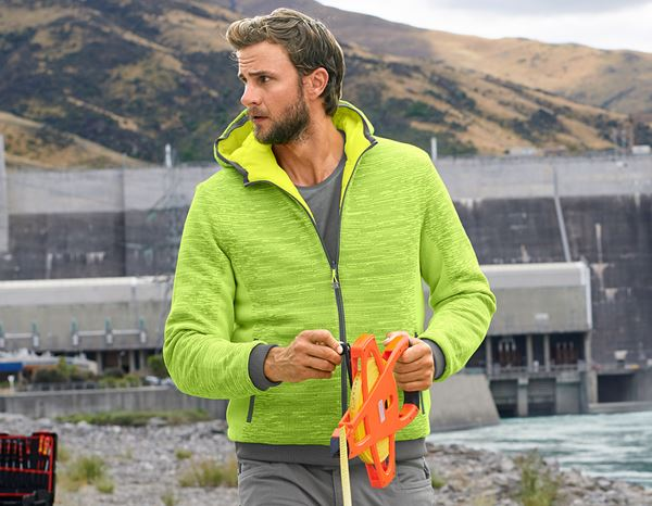 Work Jackets: High-vis reversible jacket e.s.motion ten + high-vis yellow/granite 1