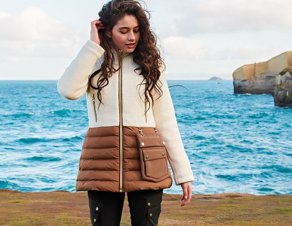 workwear couture: Wool Winter Jacket + shell white/amber brown