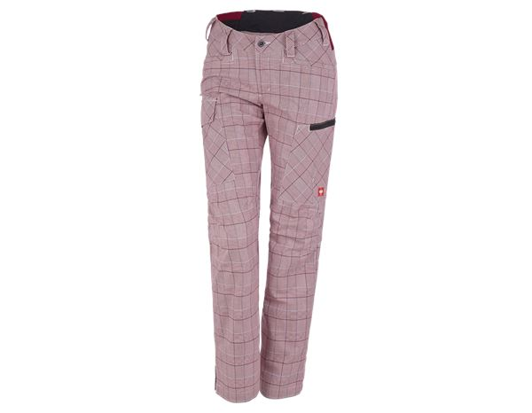 Work Trousers: e.s. Trousers pocket, ladies' + ruby/white/navy