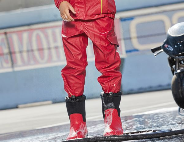 Trousers: Rain trousers e.s.motion 2020 superflex,children's + fiery red/high-vis yellow