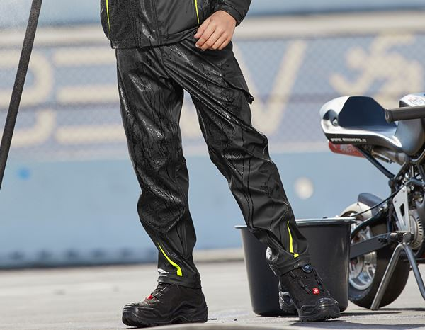 Trousers: Rain trousers e.s.motion 2020 superflex,children's + black/high-vis yellow/high-vis orange