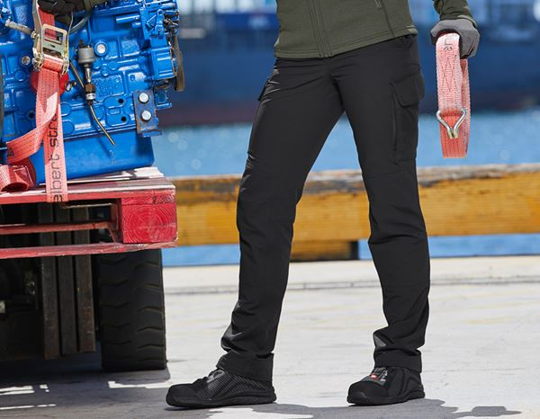 Work Trousers: Funct. cargo trousers e.s.dynashield solid, ladies + black